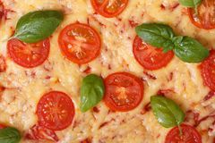 Texture margarita pizza with tomato, basil and cheese Royalty Free Stock Images
