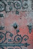 Texture of massive forged door of st. Benedict cathedral in Benedictine monastery, Hronsky Benadik, Slovakia Royalty Free Stock Images