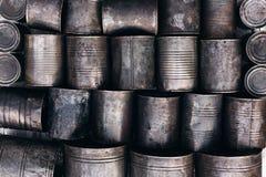 Texture of metal tins. Outdoors Stock Photos