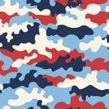 Texture military camouflage repeats seamless army red white blue and durk blue colors seamless background royalty free illustration