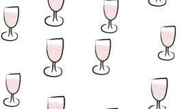 Texture, modèle sans couture de beaux verres de vin tirés par la main d'aquarelle Le fond Illustration de vecteur illustration libre de droits