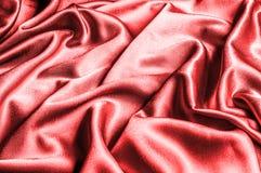 Texture, modèle tissu en soie rouge, fil métallique métallique elle Image libre de droits