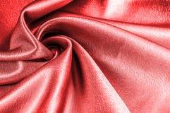 Texture, modèle tissu en soie rouge, fil métallique métallique elle Photos libres de droits