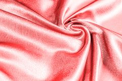 Texture, modèle tissu en soie rouge, fil métallique métallique elle Photographie stock