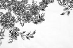 Texture, modèle Tissu luxueux de tissu de dentelle de noir des perles 3B Images stock