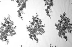 Texture, modèle Tissu luxueux de tissu de dentelle de noir des perles 3B Image libre de droits