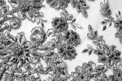 Texture, modèle Tissu luxueux de tissu de dentelle de noir des perles 3B Photographie stock libre de droits