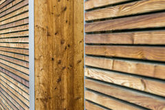 Texture of a modern wooden wall made of slats. oblique view. Stock Photo