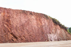 Texture of mountain showing red soil after excavated Stock Image