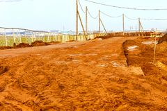 Texture of mud or frozen soil. The texture of the mud or wet soil.Road to build a house Royalty Free Stock Photography