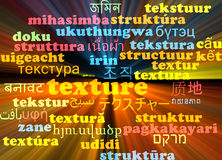 Texture multilanguage wordcloud background concept glowing Royalty Free Stock Images