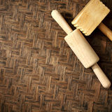 Texture of natural bamboo Weave  Rolling pin  hammer Royalty Free Stock Images