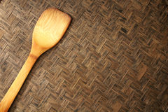 Texture of natural bamboo Weave spade of frying pan Stock Images