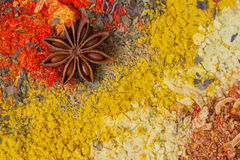 Texture of natural spices and herbs. Vivid colorful set. Healthy lifestyle concept, abstract background with space for Stock Photos