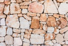 Texture naturelle de fond de façade de mur en pierre photos libres de droits