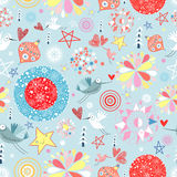 Texture of the New Year balls and birds royalty free illustration