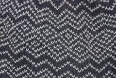 Texture noire et blanche d'un morceau de tissu de laine Photos libres de droits