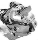 Texture noire et blanche de marbre décorative Peinture abstraite Fond à la mode pour l'impression et les sites Web exceptionnel Photographie stock