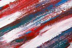 Texture o fundo com cursos azuis e vermelhos da pintura Foto de Stock Royalty Free
