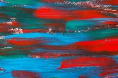 Texture o fundo da pintura com cursos azuis e vermelhos Fotos de Stock