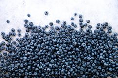 Texture Of Blueberry Berries Close Up. Border Design. Fresh Blueberries Background With Copy Space For Your Text. Vegan Stock Images