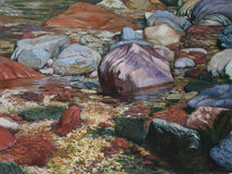 Texture of oil painting , author painting Roman Nogin. Texture of oil painting. author painting Roman Nogin mountain stream, waterfall, rocks in the water royalty free stock images