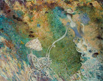 Texture oil painting. author Roman Nogin, series `Women`s talk.` , Author`s version of color Stock Images