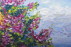 Texture oil painting, flowers, art, painted color image, paint, Royalty Free Stock Photos