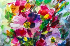Texture oil painting flowers, painting vivid flowers, floral. Still life stock image