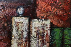 Texture of oil painting relief strokes, canvas Stock Photos