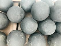 Texture of old antique combat round gray metallic, iron, stone cannon balls, ammunition. The background royalty free stock images