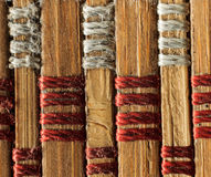 Texture of old bamboo branches with threads. Stock Photography