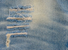 Texture of old blue jeans at torn Stock Photos