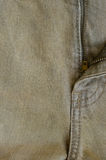 Texture of Old Brown Denim Jeans Part of Trousers. Royalty Free Stock Photos