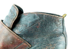 Texture in old brown leather boots Stock Photos