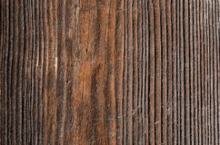 Texture is an old brown wooden board with black sides Stock Image