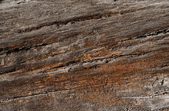 The texture is an old brown wooden board with large cracks. Royalty Free Stock Photo