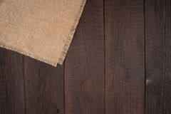 Texture of the old burlap and wood. Royalty Free Stock Photos