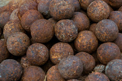 Texture old cannonballs. Fortezza Castle Rethymno Royalty Free Stock Photography