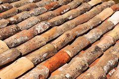 Texture of old clay tiles stock photos