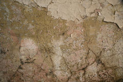 Texture of old cracked plaster painted wall. Texture of old aged shabby cracked painted gray green beige decay wall background Stock Images
