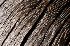 The texture is an old dark wooden board with a deep crack and shallow depths Royalty Free Stock Photography