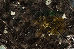 Texture of old grunge black wall with metal grid Royalty Free Stock Photos