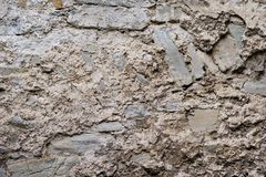 Texture of old medieval castle wall made from gray stones Stock Photo