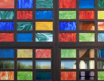 Texture of the old multi-colored stained-glass windows, backgrou Stock Images