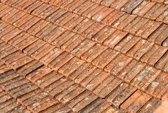 Texture of old orange roof tiles Royalty Free Stock Photography