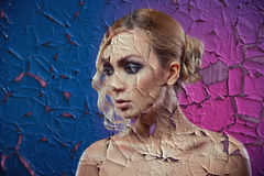 Texture of old paint a portrait of a woman. Beautiful luxurious Stock Photos