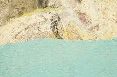 Texture of old painted wall with blue stripe. Background royalty free stock photography