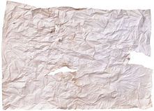 Texture of old paper. Worn old brown paper with scratches. on a white background stock photos