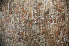 Texture of old red brick in oval edge. The Texture of old red brick in oval edge stock image